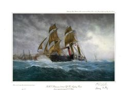 Nautical Artists Proof print 18x14 approx titled RMS Britannia 1840 Off the Anglesey Coast signed in