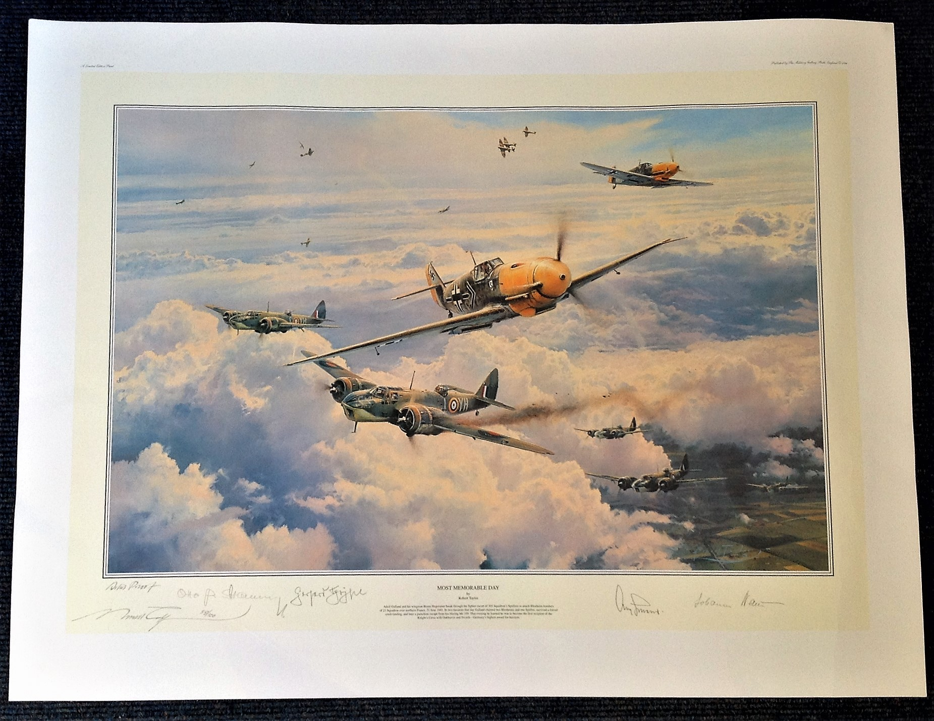Robert Taylor 35x25 Most Memorable Day Artist Proof, AP, print 88 100 with 4 Luftwaffe signatures