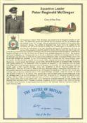Squadron Leader Peter Reginald McGregor. Signed 5 x 3 inch blue card with RAF logo. Set on superb