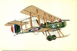World War One 17x11 colour print picturing Vickers F. B. 5 Gunbus 1914 with 100 h. p Gnome