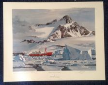 Nautical print HMS Endurance in the Ice 32x18 approx signed in pencil by the artist Keith Shackleton