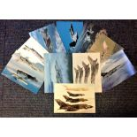 Aviation postcard collection includes 10 squadron print cards such as Canadian CF 18 Tiger Bird