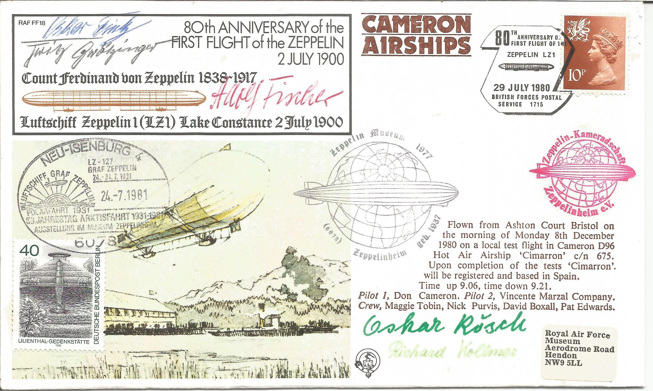 Zeppelin crew multiple signed Graff Zeppelin cover. Signed by Oskar Fink, Oskar Rosch, Adolf