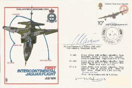 Air Comdr G. C. Cairns CBE AFC and Wing Cdr M. K. Adams signed First Intercontinental Jaguar