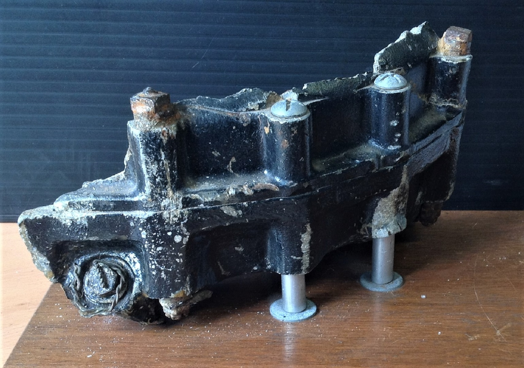 Dambuster relic, Large piece of the gear box from the Lancaster of John Vere Hopgood, DFC & Bar,