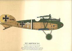 World War One print 14x18 colour print picturing 1917 Albatross D. V 180hp Mercedes 6 Cylinder water