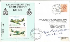 F Lt Gareth Newell DFM and Bar signed FDC 40th Anniversary of the Battle of Britain 1940 1980 double