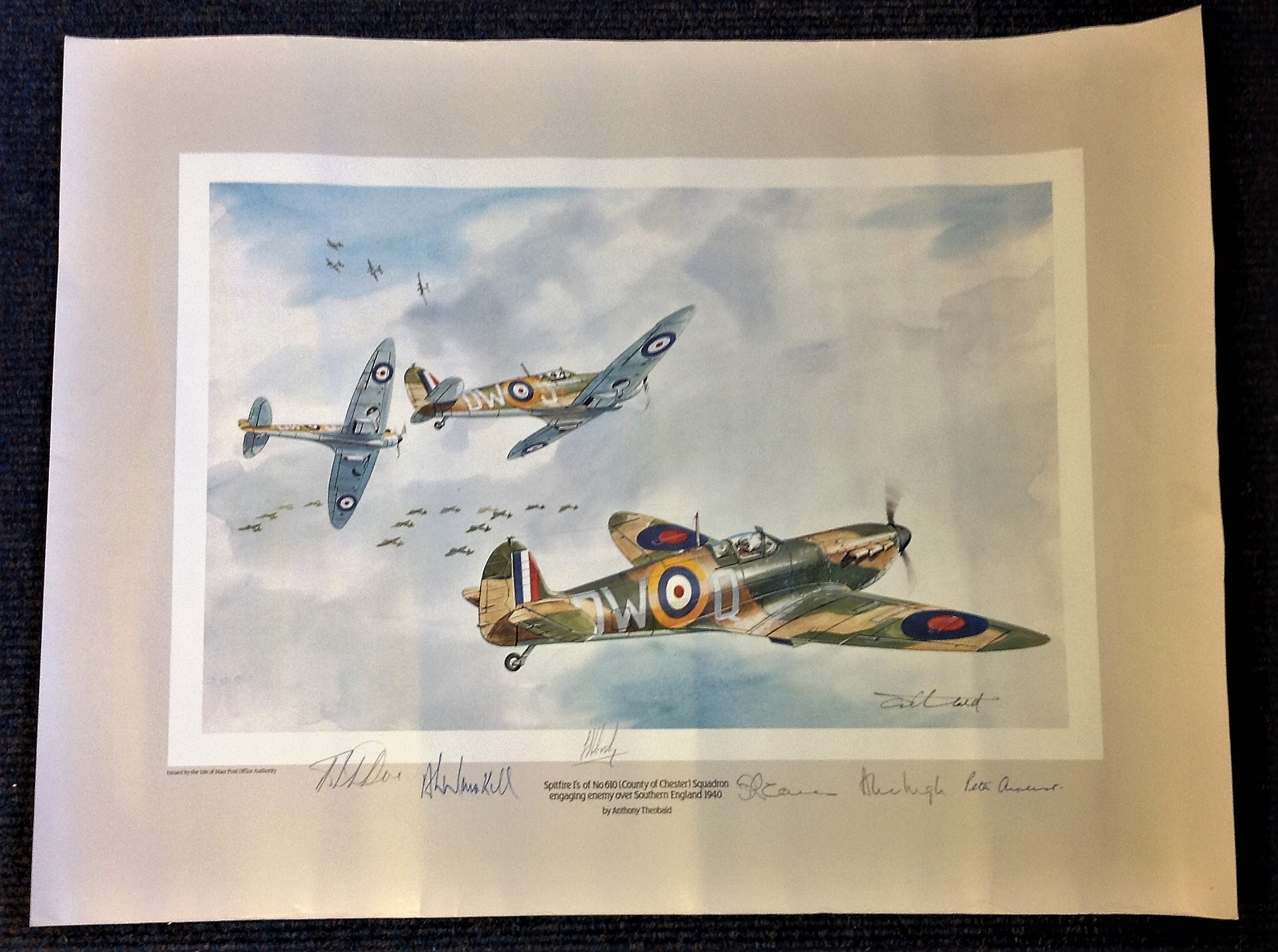 Battle of Britain 22x20 print Spitfires 1 OF No 610 County of Chester Squadron engaging enemy over