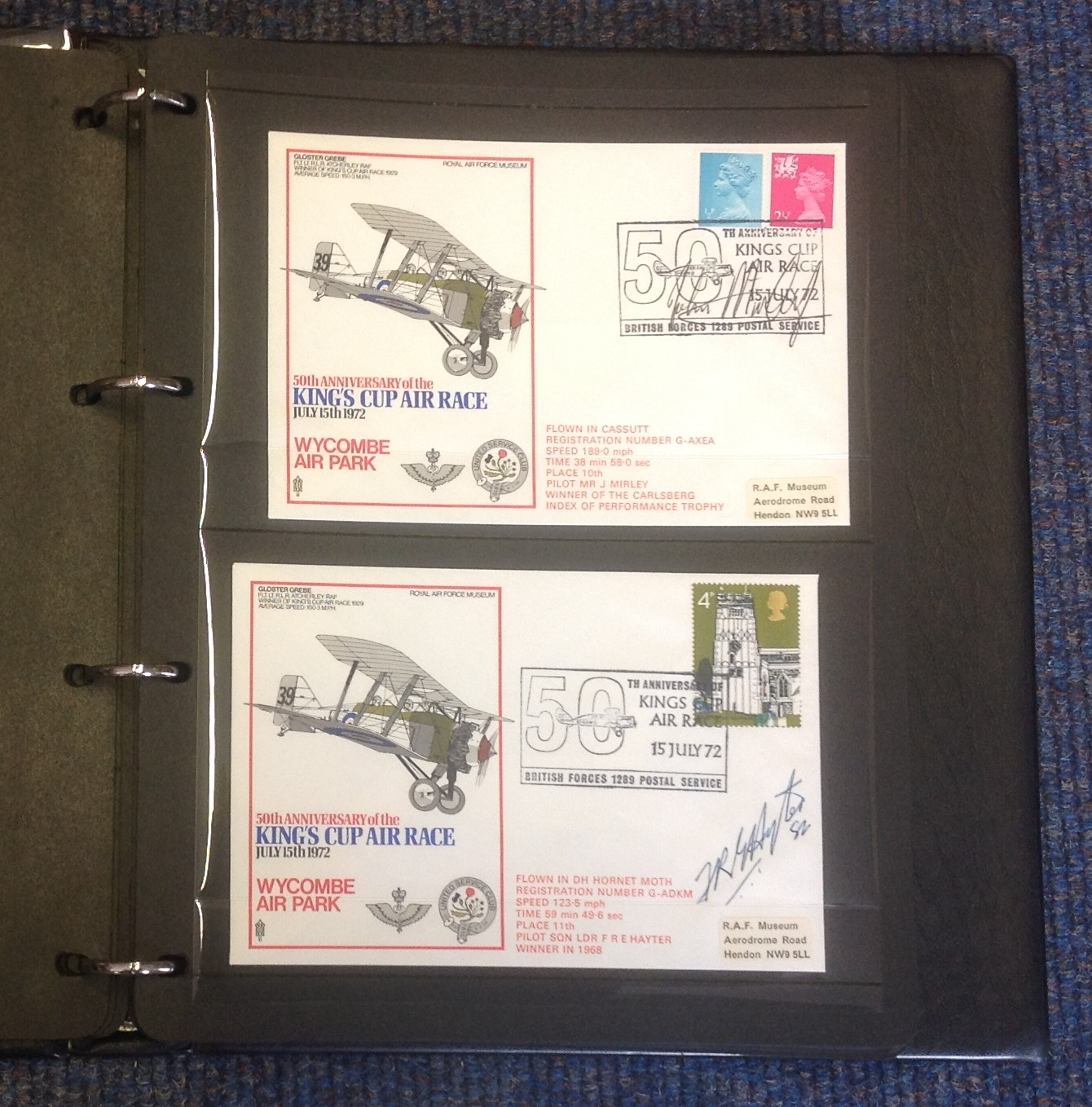 RAF Kings Cup Air Race Series collection in official Black Logoed album. The full set of 41 1972