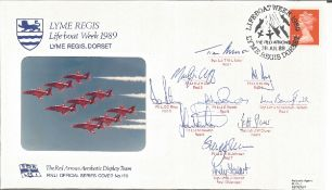 Rare Red Arrows team signed 1989 Lyme Regis Lifeboat Week RNLI cover. Good Condition. All autographs