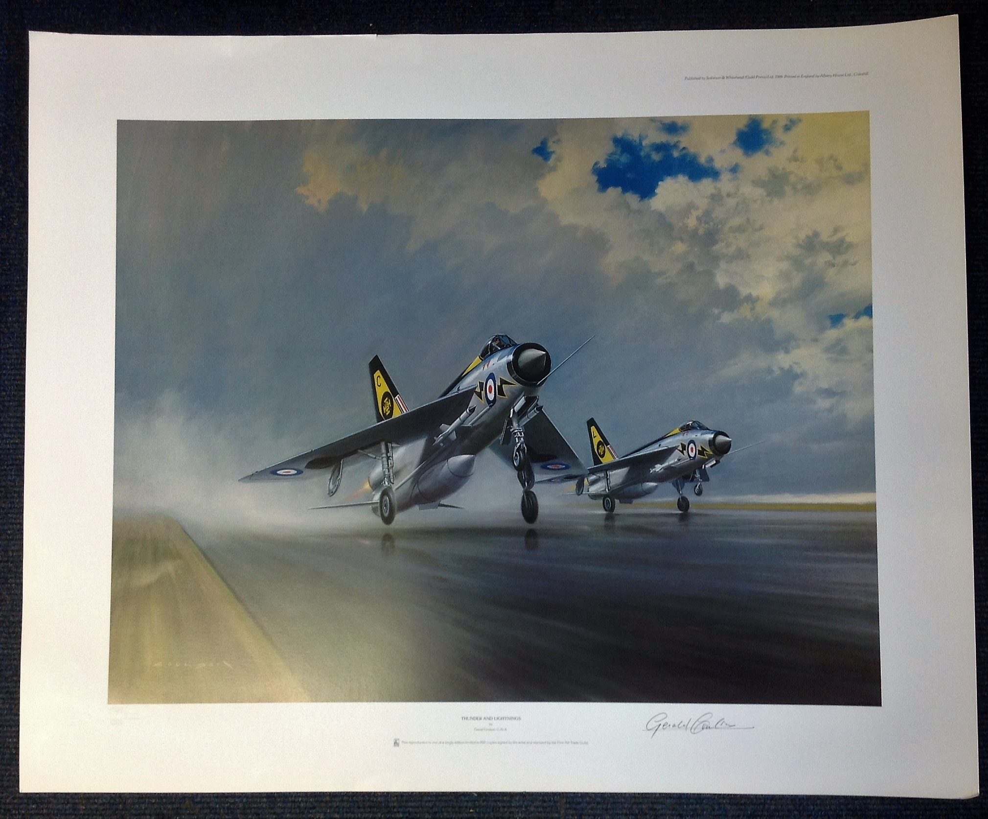 Aviation 27x32 print titled Thunder and Lightning signed in pencil by the artist Gerald Coulson.
