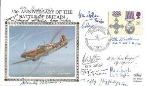 50th Anniversary Battle of Britain multi signed FDC 11 signatures includes Wg Cmr J Barnes 600