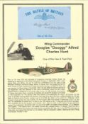 Wing Commander Douglas Douggy Alfred Charles Hunt. Signed 5 x 3 inch blue card with RAF logo. Set on