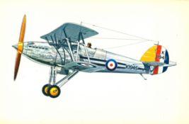 World War One 17x11 colour print picturing Hawker Fury I. RAF. high speed interceptor with twin