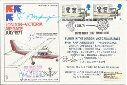 Tom Sopwith Aircraft designers signed 1971 London to Victoria Air race cover. Also signed by three