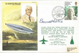 Sir Barnes Wallis CBE FRS FRAeS FRSA signed his own cover No. 487 of 1250. Flown from RAF Upper