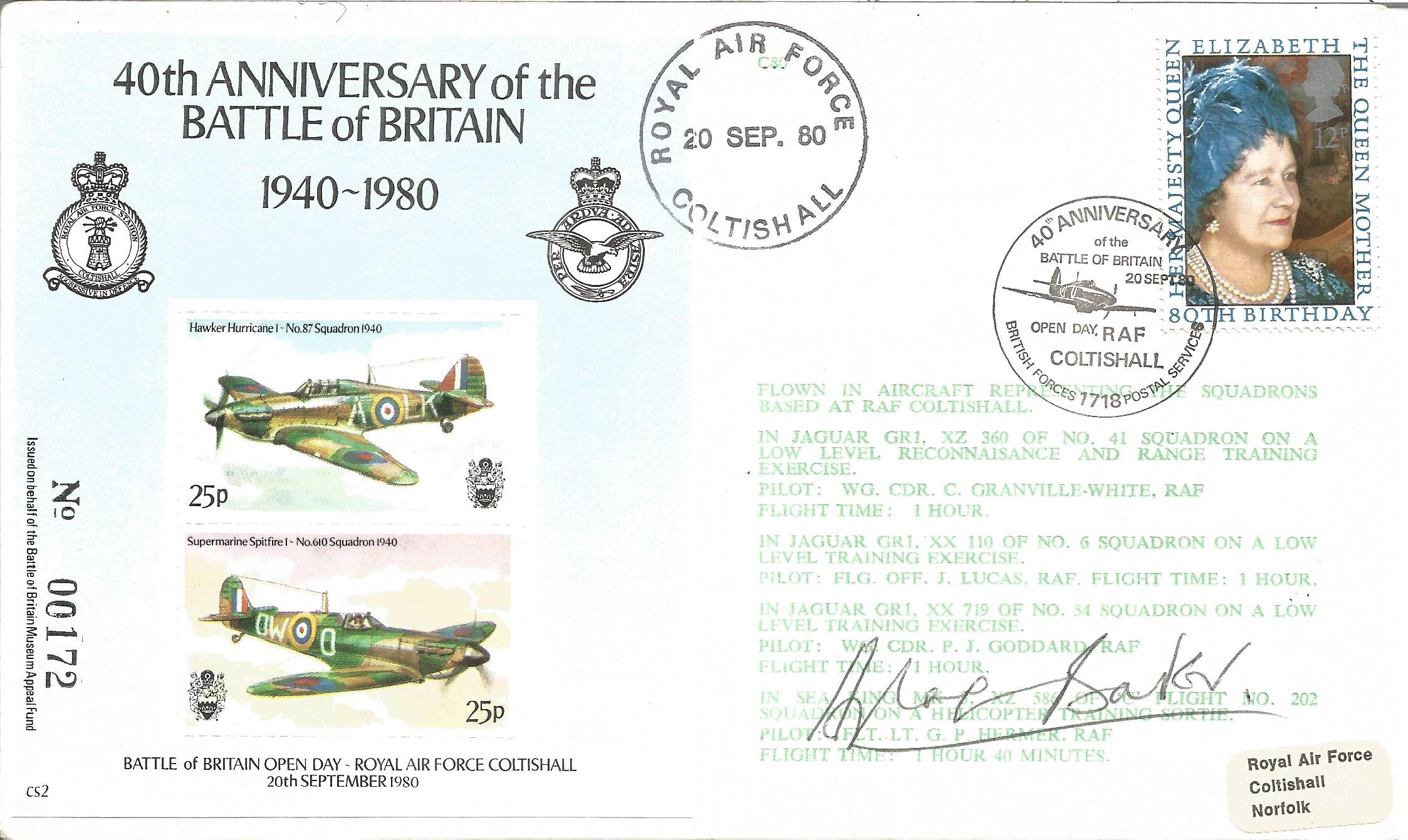 Douglas Bader signed 40th Anniversary of the Battle of Britain 1940 1980 cover No. 90 of 997.