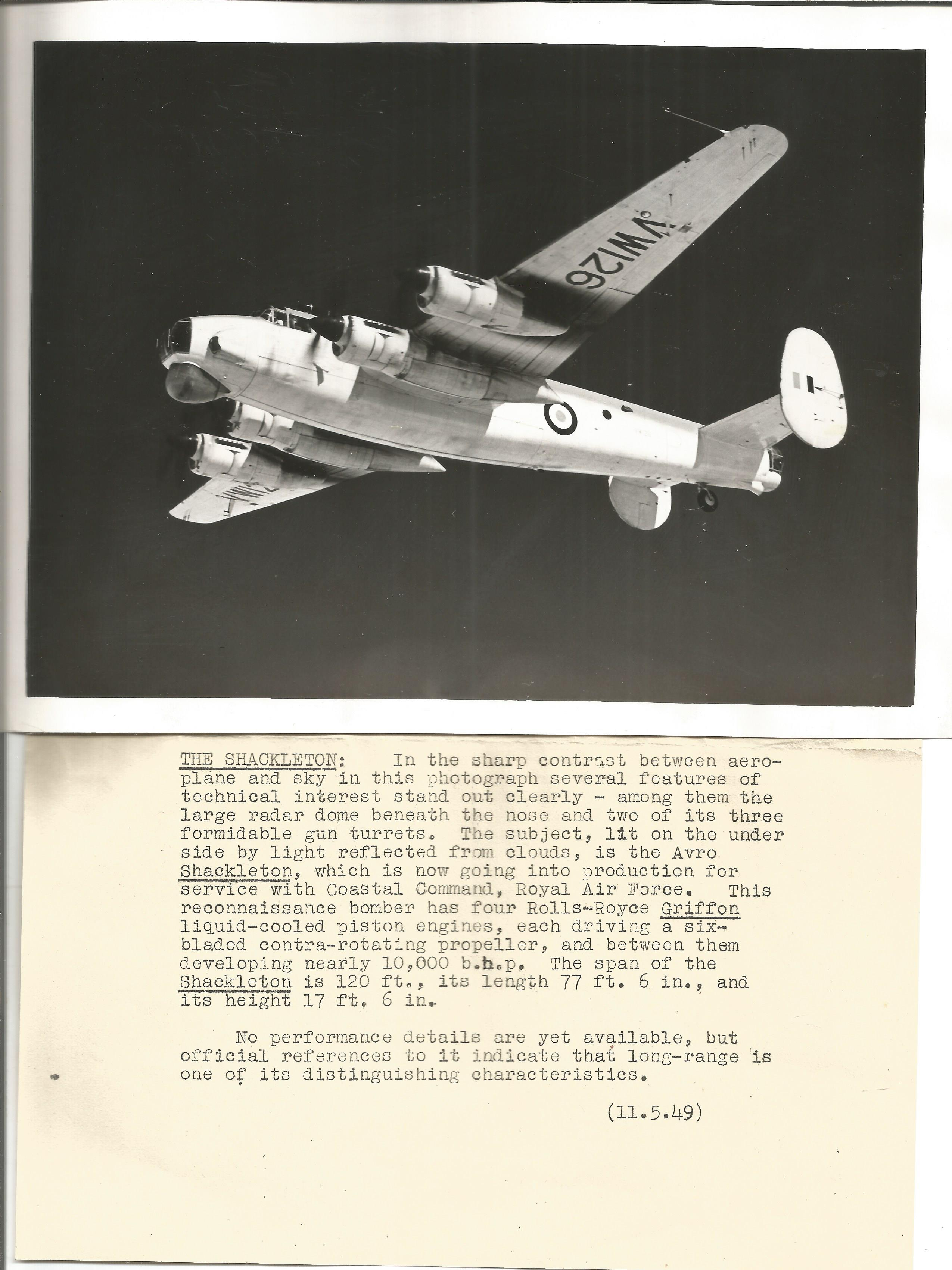 Aviation Shackleton collection includes to original 9x7 black and white photos dated 11. 5. 49 and a - Image 2 of 3