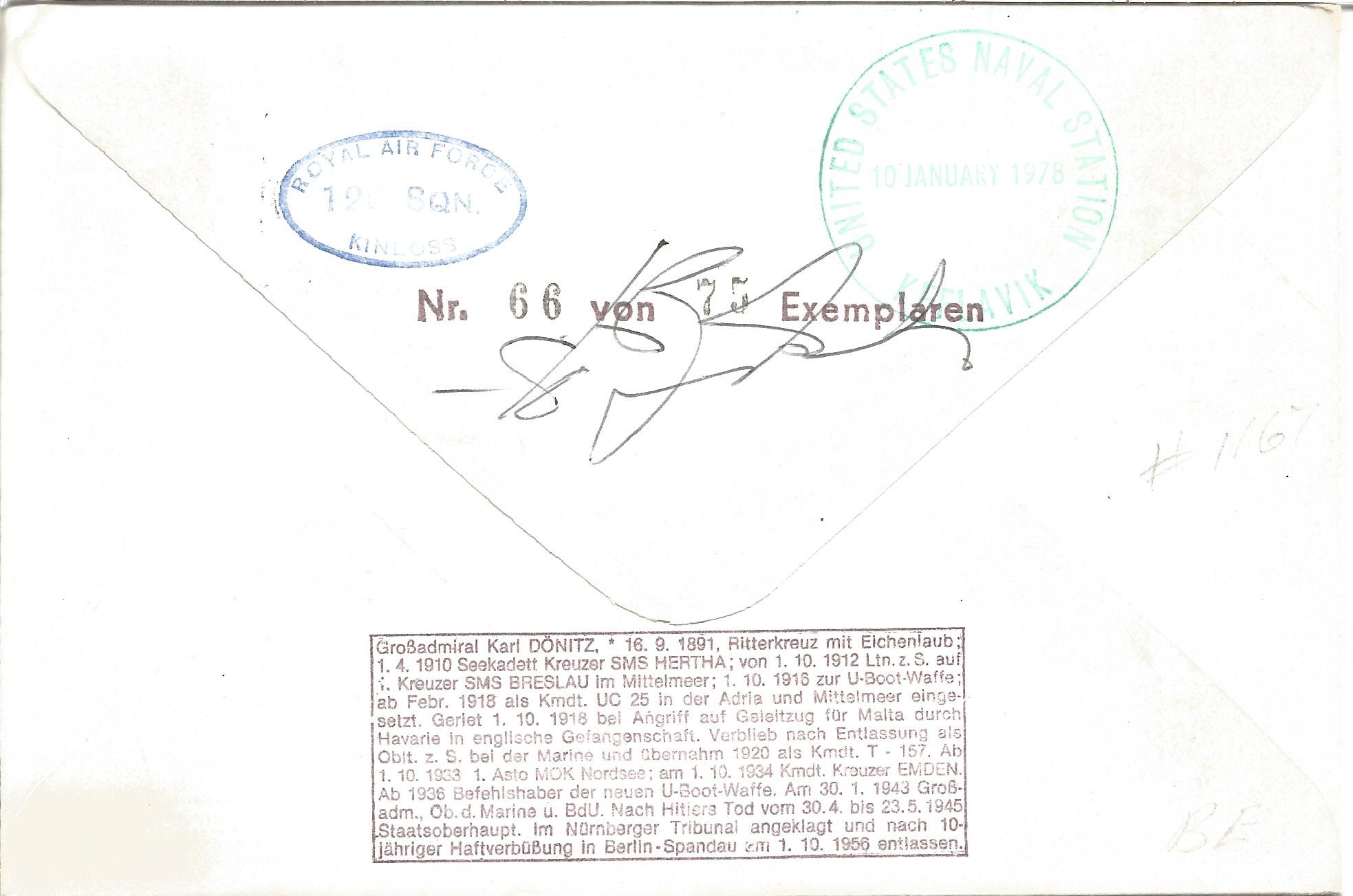 Karl Donitz and Sqn Ldr Terence Bulloch DSO* DFC* signed Sqn Ldr T. M. Bulloch cover No. 66 of 75. - Image 2 of 2