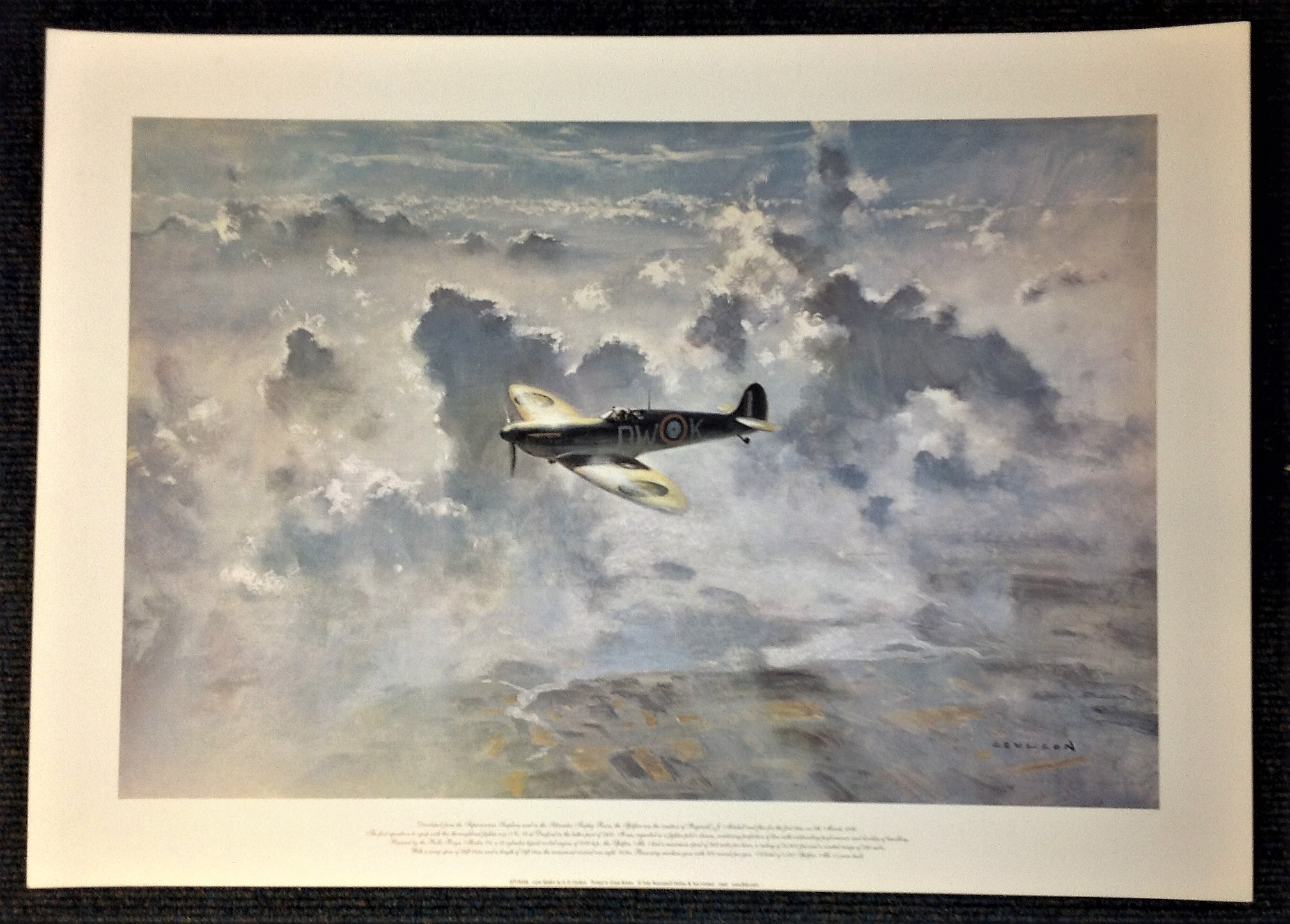 Battle of Britain 20x27 print titled Lone Spitfire by the artist Gerald Coulson picturing a Spitfire