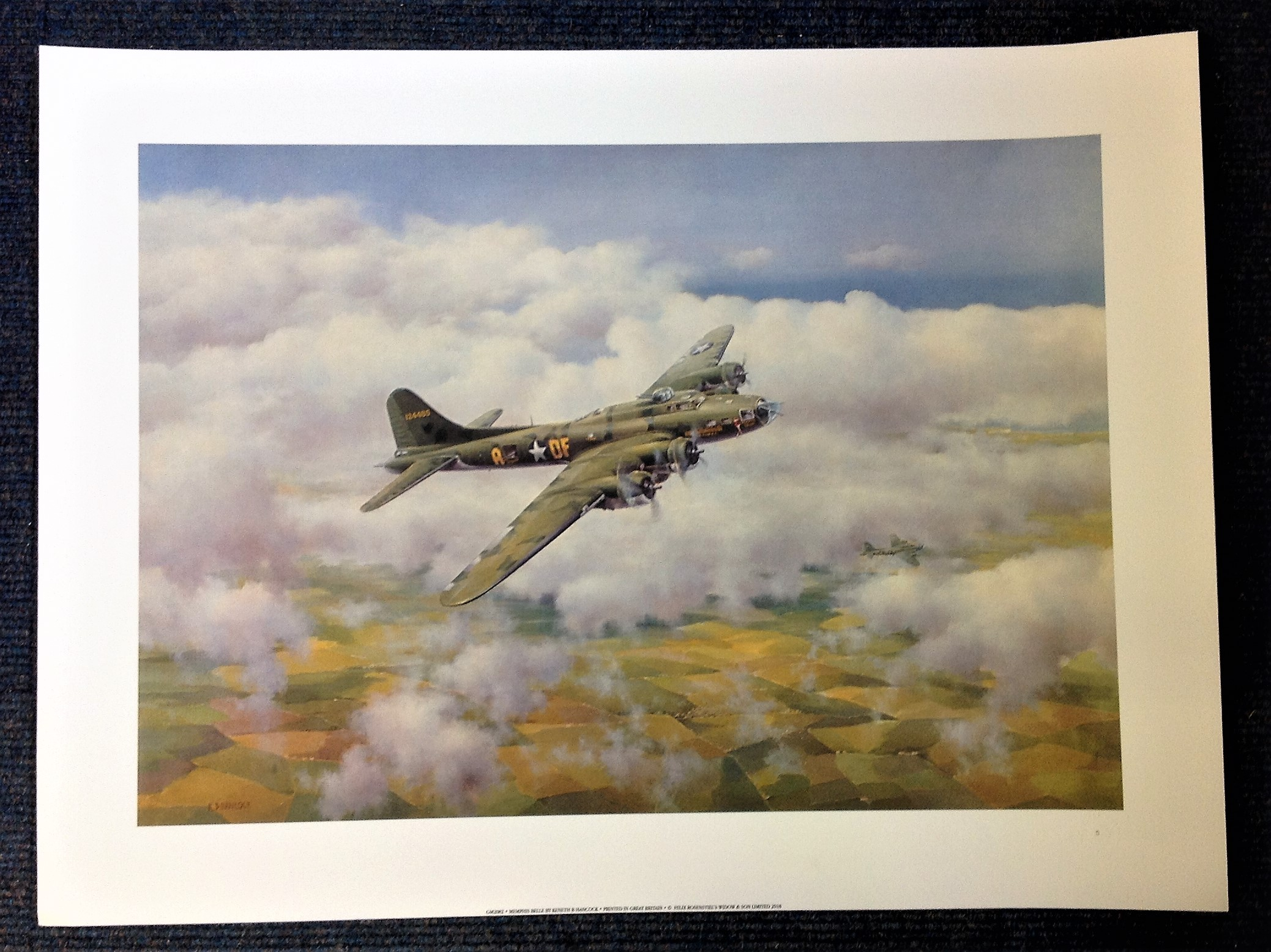 World War II 18x24 print titled Memphis Belle by the artist Kenneth B Hancock picturing the American