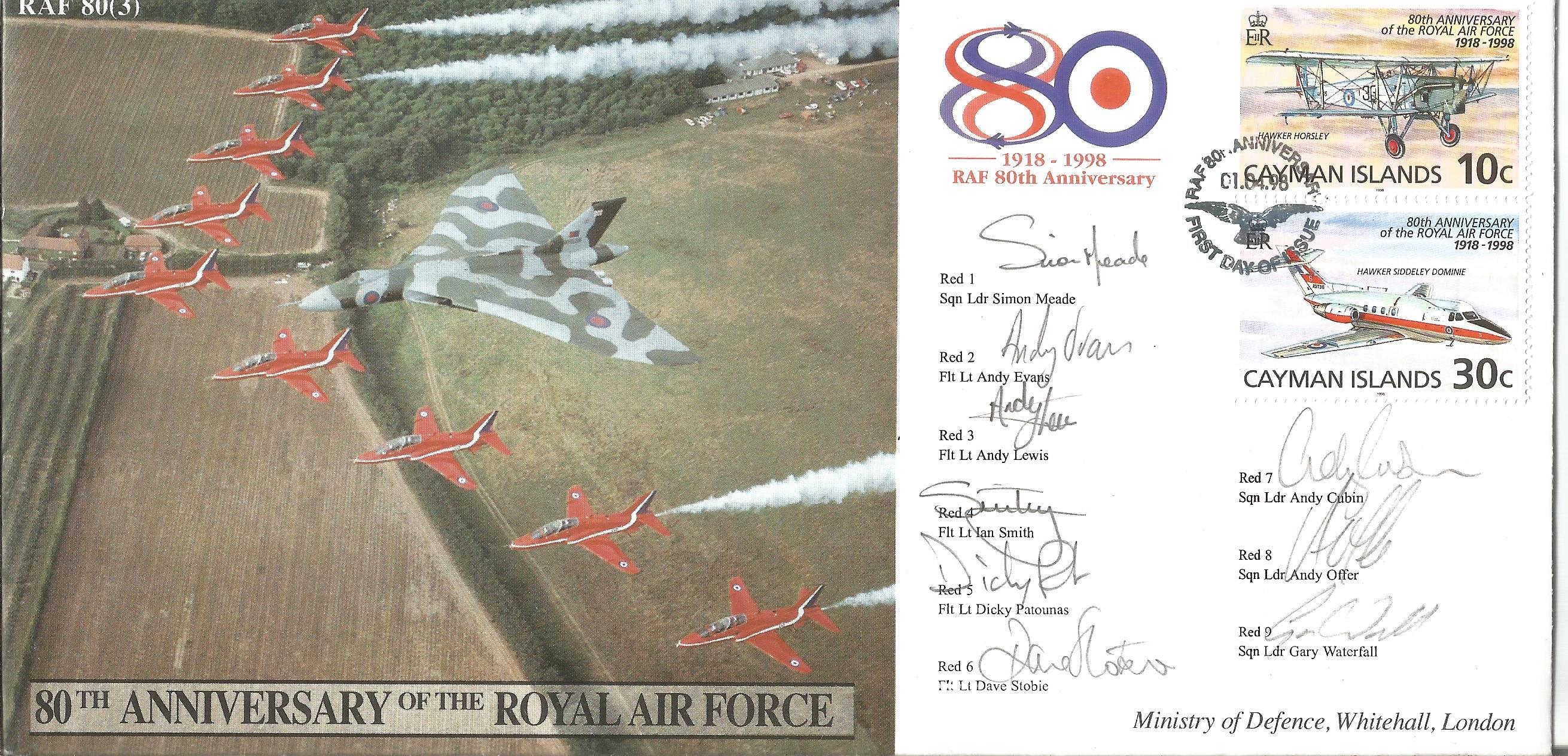 Rare Red Arrows team signed 80th ann RAF cover 1998. Good Condition. All autographs are genuine hand