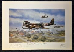 World War II 17x23 print titled Bristol Blenheims approaching Rotterdam signed by the Rt Hon The