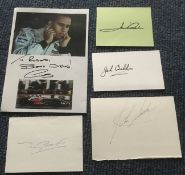 Motor racing signed collection. Five signed cards, pages inc Lewis Hamilton