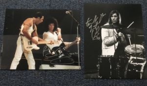 Music Brian May and Charlie Watts signed photos Queen and Rolling Stones
