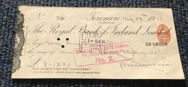 Patrick Pearse signed cheque (1879-1916) Irish Nationalist & Political Activist
