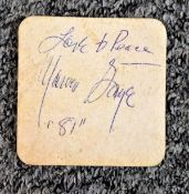 Marvin Gaye signed Beer mat inscribed love and peace Marvin Gaye