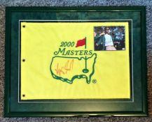 Golf Vijay Singh 23x18 signed framed and mounted US Masters 2000 Commemorative flag.