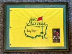 Golf Billy Casper signed 20x16 framed and mounted US Masters 2001 Commemorative flag.