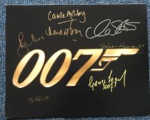James Bond multiple signed 16 x 12 inch colour photo inc Roger Moore, George Lazenby