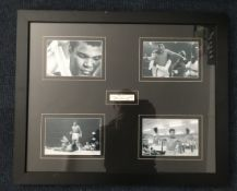 Muhammad Ali signed autograph display; signature piece mounted with colour photos
