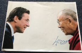 Dalai Lama signed stunning 16 x 12 inch colour portrait photo.