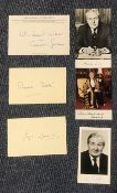 Political signed collection Margaret Thatcher and Edward Heath signed cards, with James Callaghan,