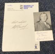 Bobby Moore signed 4 x 3 inch b/w photo with TLS by Sir Alf Ramsey on Birmingham FC letterhead.