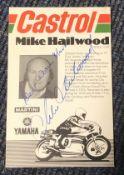Mike Hailwood signed 6 x 4 inch Castrol Mike Hailwood promo card, to Mark. Condition 8/10. All