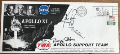Apollo XI crew TWA cover signed by Neil Armstrong Buzz Aldrin Michael Collins