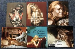 James Bond Goldfinger collection of six 10 x 8 inch photos, signed by Shirley Eaton