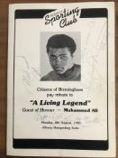 Muhammad Ali signed programme for martial arts meeting, also signed by couple stars of the show.