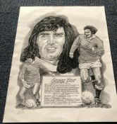 George Best Signed 11x14 Manchester United Montage Artwork Print.