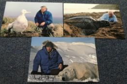 Sir David Attenborough three superb signed 12 x 8 colour Nature photos.
