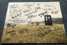 Dr Who 16x12 multi signed photo signed by 18 stars from the iconic BBC SCI Fi series