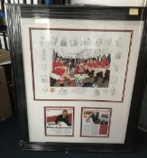 Man Utd multiple signed print A Team for All Seasons. A colour lithograph produced by Stewart Becket