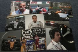 Formula One Motor racing signed collection. Nine 12 x 8 inch colour photos inc. Daniel Ricardo