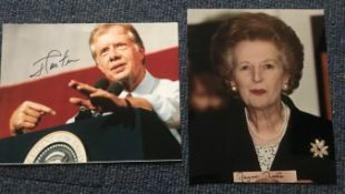 Politics Margaret Thatcher and Jimmy Carter signed 12 x 8 colour portrait photos