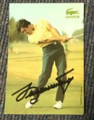 Seve Ballesteros signed 6 x 4 inch colour Lacoste colour golf action photo.