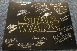 Star Wars 16x12 multi signed colour photo signed by 13 stars from the epic saga includes